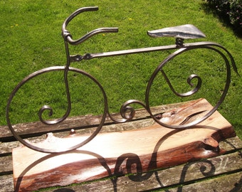 Blacksmith Made Hand Forged Metal Cycle Art Sculpture Mounted on an Elm Wood Base