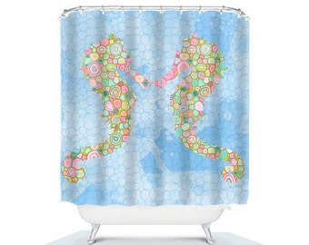 kids bathroom decor seahorse shower curtain, blue bathroom decor, seahorse decor, kids shower curtain, blue shower curtain, shower curtains