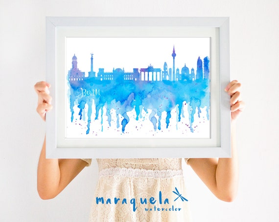 BERLIN GERMANY Skyline watercolor blue shades, Deutschland decor, print travel, poster, gift memory Alemania trip, wall art Berlino, Berlim