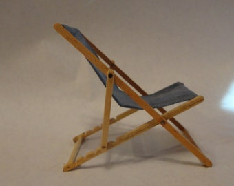 Lounge chair, outdoor 1 inch scale wooden dollhouse furniture