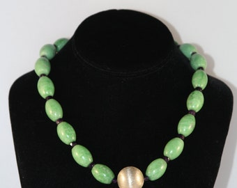 Jade and Faceted Amethyst Necklace