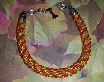 Kumihimo Beaded Bracelet seed beads colors Lemon Lime and Transparent Cherry