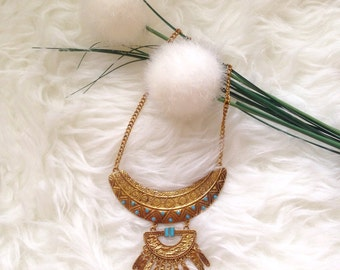 Egyptian golden bronze statement necklace