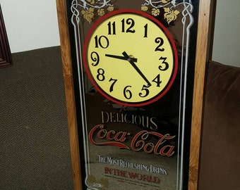Vintage Coca Cola Mirrored Clock
