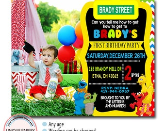 BOY SESAME STREET Birthday Invitation, Girl Sesame Street Birthday Invitation, Sesame Street 1st Birthday Invitation, Big Bird Invitation