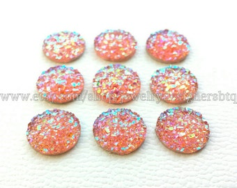 12mm Faux Druzy Cabochon Druzy Cabochons AB Pink Drusy Aurora Resin Cabs Iridescent Druzies Stud Earring Post Earrings Bezel Kawaii Finding