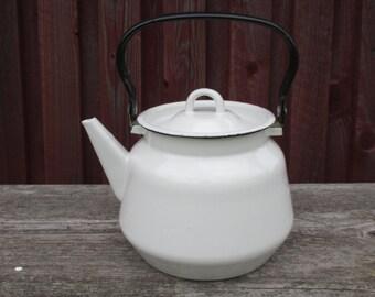 Vintage Enamel Tea Kettle, Soviet Enamelled Teapot, Enamel Kitchenware, Farmhouse, Shabby Chic, Rustic Home Decor Farmhouse, Soviet Vintage