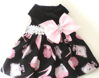 Velvet Pet dog Apparel Clothes Clothing Sparkle Pink Bow Harness Dress XXXS-L