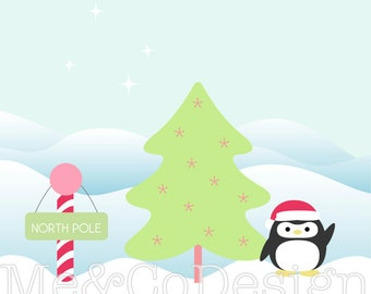 North Pole Clipart, Fun Pretty Clipart, Winter, Snow Penguin Instant Download, Personal and Commercial Use Clipart, Digital Clip Art