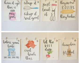 SET OF FOUR Watercolor Kitchen Puns *please read item description!*