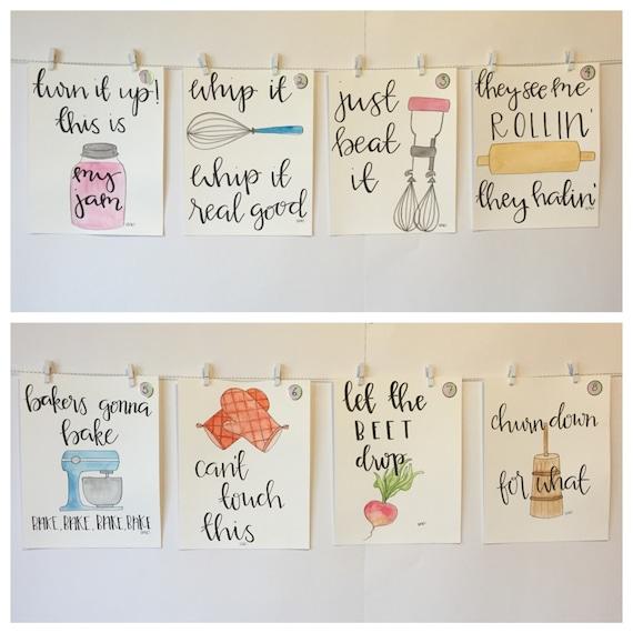 Aliexpress Com Buy Kitchen Decor Food Quote Canvas: SET OF FOUR Watercolor Kitchen Puns Please Read Item