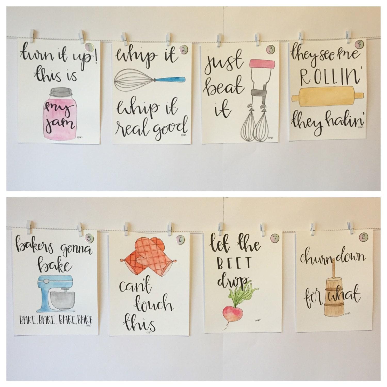 SET OF FOUR Watercolor Kitchen Puns please read item