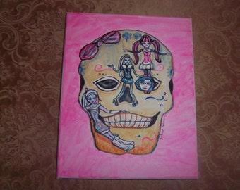 Monster doll sugar skull painting