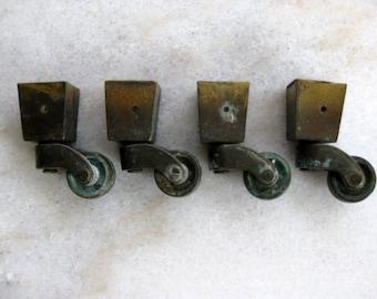 Vintage Cast Brass Square Socket Castors Set of 4