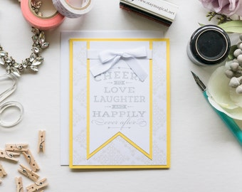 Yellow Large Banner Congratulations Card, Handmade Greeting Card