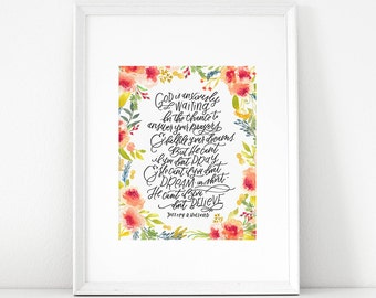 God is anxiously waiting, Jeffrey R. Holland Quote, LDS art print, Christian, Floral watercolor, hand lettering, uplifting home decor