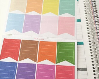 Full Box Flags Planner Stickers (dark and light colours)