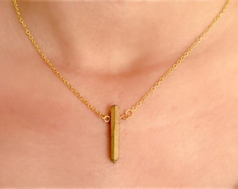 Natural Quartz Pendant Necklace, Golden, Dainty, Thin