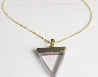 Clear Quartz Point Necklace, Triangle Necklace, Simple, Minimalist Quartz Necklace