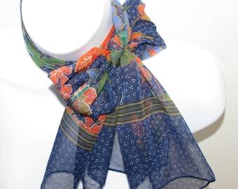 Vintage Sheer Long Scarf, Blue Orange Green White, Flowers Butterflies Birds & Dots, Poppies Daffodils Jonquils, fashion Accessory