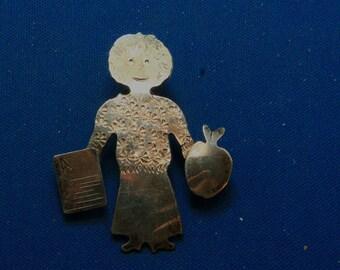 Vintage Sterling Silver Teacher Educator Artisan Made Lapel Pin
