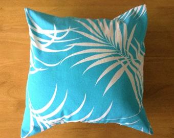 Hawaiian Canvas Pillow Cover Aqua Color Cushion Covers Palm Tree Pillow 18x18 17x17 16x16 14x14 13x13 45x45 40x40 35x35 33x33 Made in Hawaii