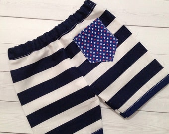 Patriotic Blue and White Striped Non Stretch Cotton Shorts w/Elastic Waistband and Blue Pockets with Stars