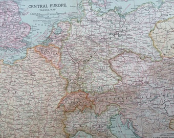 1903 CENTRAL EUROPE Original Large Antique Map - Wall Map - Home Decor - Cartography - 11 x 16 Inches - Detailed Map - Geography