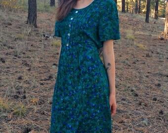 Teal Prairie Dress, Bohemian Maxi Dress, Floral, Blue