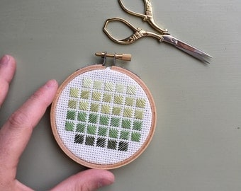 Ombre Squares Embroidery Hoop - Cross Stitch - Hoop Art - Wall Art