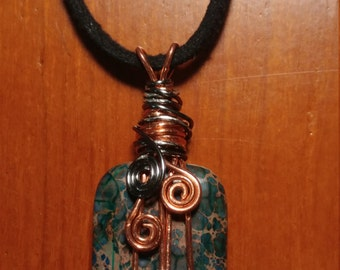 Jasper spiral two tone wrapped necklace