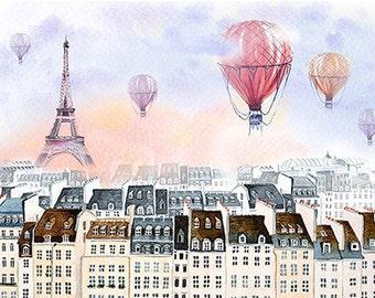 Paris watercolor,Paris with hot air balloon, France, Paris print, Poster, Wall art, Art print, Gift, Home Decor