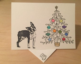 Boston terrier christmas cards | Etsy