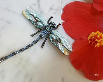 Dragonfly Necklace, Dragonfly Brooch, Vintage Design