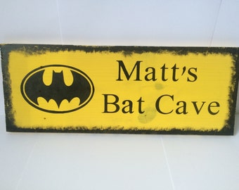 Personalized Batman Bat Cave Wooden Sign