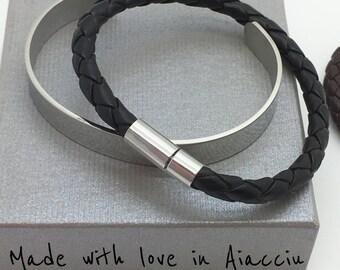 Bracelet braided leather and steel inspiration man Scott Kay
