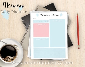 A4/LETTER - Daily Organizer Planner, Winter Mint To Do List Worksheet, Schedule Agenda Easy Template PDF, Instant Download Digital Printable