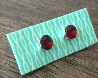 faux red gem triangular earrings