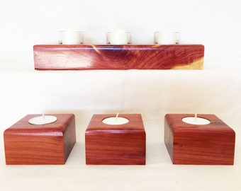 Rustic Candle Holder Set - Aromatic Cedar - Gift for Her - Christmas Gift - Table Centerpiece - Wood Gift - 5 Year Anniversary