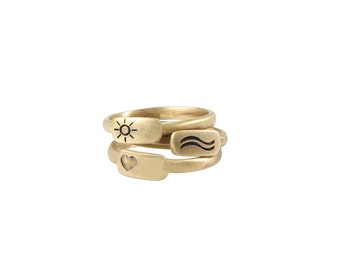 All Summer Ring Set, Ring Set with Summermotives (Waves, Heart,Sun)