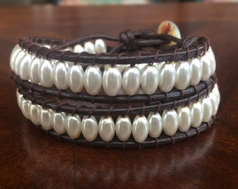 Pearl and Brown Leather Wrap Bracelet