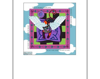 Angel Cat Art Print 8.5x11 My Feline Love Spiritual