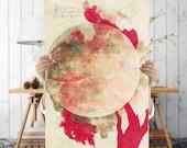 Bohemian Tree Silhouette Art Print - Red Mystical Wall Art, Digital Download | Tree Art | Eclectic  Printable Wall Decor