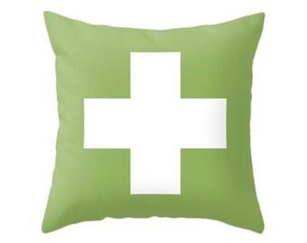 Swiss Cross Pillows, 5 Cool Colors, Throw Pillow, Nordic Cushion, Home Decor, Minimal Geometric, Green Young Decor, Scandinavian Living Room