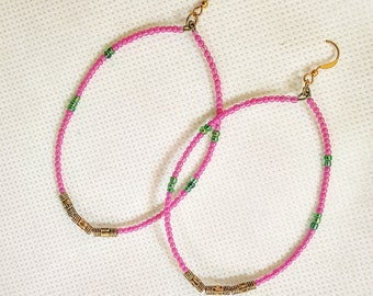 Boho Inspired + Seed bead + Hoop Earrings