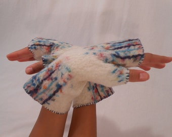 Felted fingerless gloves, Felt arm warmers, Мulticolor gloves, Winter, autumn accessory