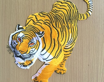 """Bangal Tiger Embroidered Large back patch ,Yellow Tiger, Large patch   W7.5xH11.5"""""""