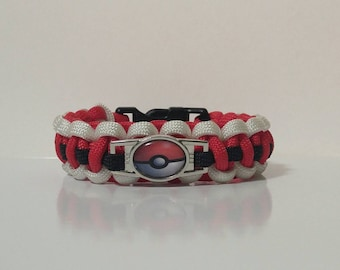Pokemon ball paracord bracelet. Pokemon bracelets.
