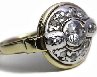 Jugendstil 585 Gold Altschliff Diamanten Gelbgold Diamant Ring