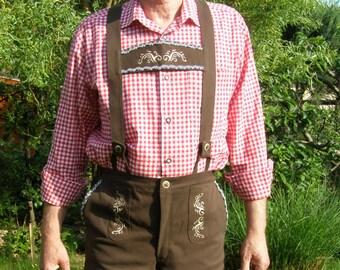 Oktoberfest Embroidered cotton brown Lederhosen ver 1